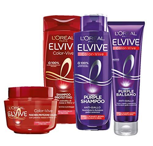 L'Oréal Paris Shampoo + Balsamo + Maschera Biondo, Kit con Shampoo e Balsamo Anti-Giallo Elvive Color Vive Purple, Shampoo e Maschera Elvive Color Vive, Confezione da 4