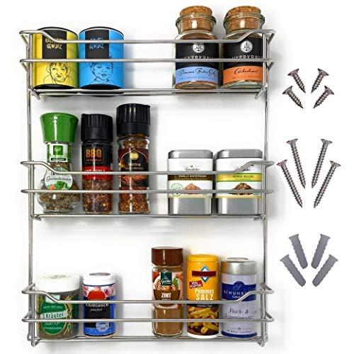 Kitcherieur estantería de especias | acero inoxidable | + tornillos de 33,0cm X 42,5cm X 6,6cm con 3 niveles de soporte para 21 frascos de especias, especial para colgar en la cocina o al aire libre