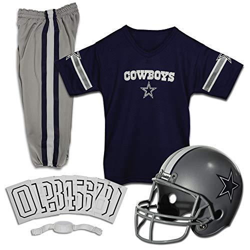 Franklin Sports Deluxe NFL-Style Youth Uniform – NFL Kids Helmet, Jersey, Pants, Chinstrap and Iron on Numbers Included – Football Costume for Boys and Girls, Large, Dallas Cowboys