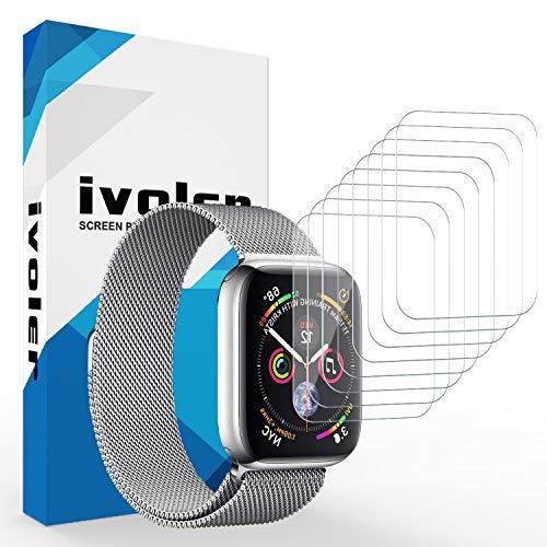 ivoler [8 Stück] Schutzfolie Displayschutzfolie für Apple Watch 44mm / 42mm (Series 5/4/3/2/1 Kompatibel), 3D Vollständige Abdeckung [Wet Applied] [Anti-Kratz] [Blasenfrei] HD TPU Weich Folie