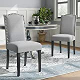 JustRoomy Fabric Dining Chairs with Copper Nails Set of 2 Modern Home Kitchen Chairs with Nailhead Trim Armless Accent Side Chairs Solid Wood Legs High Back Chair Dining Room Furniture, Light Gray