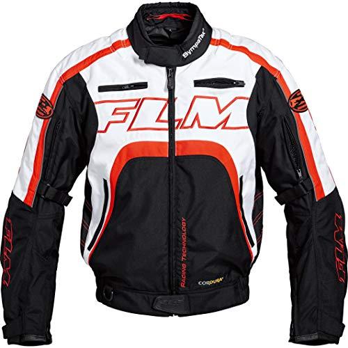 FLM Motorradjacke mit Protektoren Motorrad Jacke, herausnehmbare Sympatex® Membran-Innenjacke, wasserdicht, Winddicht, atmungsaktiv, Verbindungsreißverschluss, Leuchtrot XXL