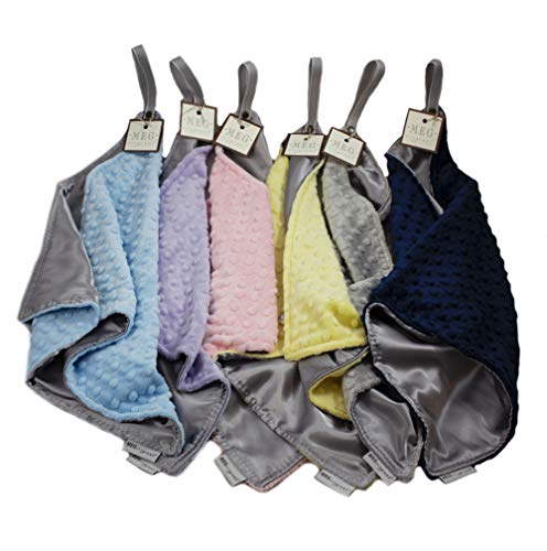 Satin and Minky Dot Baby Security Blanket Lovey with Loop (Silver / Lavender)
