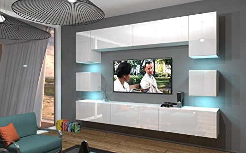 Home Direct NOWARA N1, Modernes Wohnzimmer, Wohnwände, Wohnschränke, Schrankwand (Weiß MAT Base/Weiß HG Front, LED RGB 16 Farben)