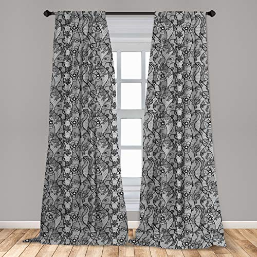 """Ambesonne Floral Curtains, Lace Gothic Pattern with Flower Effect and Leaves Ornamental Antique Feminine Design, Window Treatments 2 Panel Set for Living Room Bedroom Decor, 56"""" x 84"""", Black Grey"""