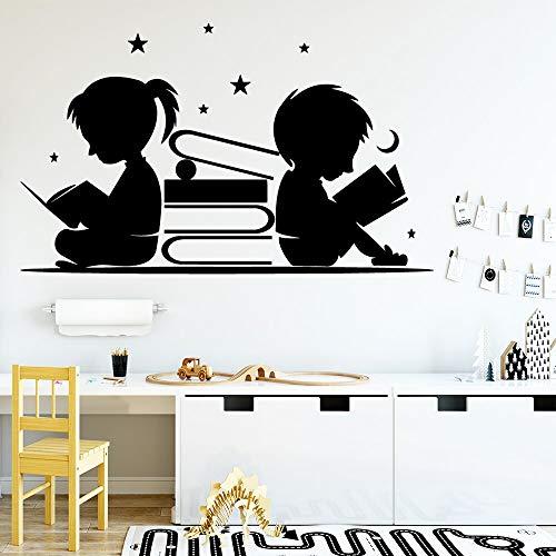 Kreative Lesebücher Junge Mädchen Studie Harte Wandaufkleber Vinyl Kunst Aufkleber Student Schlafzimmer Wohnzimmer Bibliothek Klassenzimmer Home Decor Wandbild