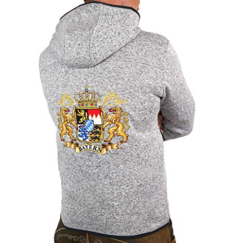 Hoamatkult Bayern Wappen Strickfleece Jacke - das Original - hochwertiger Stick (Large)