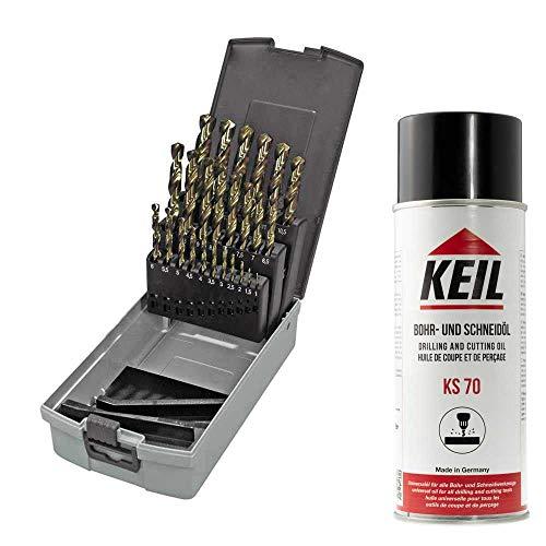 KEIL 307 501 113 Metallbohrersortiment HSS-E DIN 338 Cobalt, geschliffen, Split Point, 25-teilig Ø 1,0-13,0 mm um 0,5 mm steigend, in RoseBox plus Keil KS 70 Bohr- und Schneidöl, 400ml