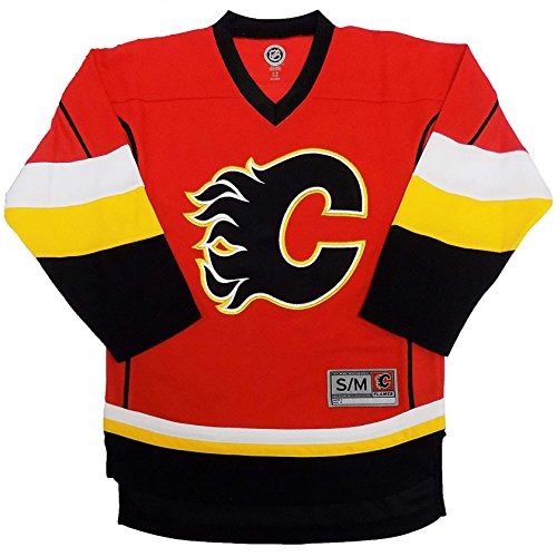 Calgary Flames Blank Red Men's Home 1 Stripe Team Apparel Jersey (Large/X-Large)