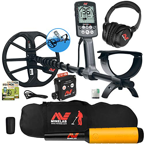 Minelab Equinox 800 Multi-IQ Metal Detector w/Pro Find 20 Pinpointer, Carry Bag