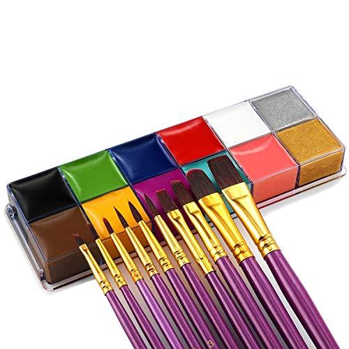 Cuerpo de la cara sistema de la pintura al óleo de 12 colores El nuevo profesional no tóxico del partido de Cosplay de Halloween Kit de maquillaje de fantasía artística con 10 púrpura Cepillos for los