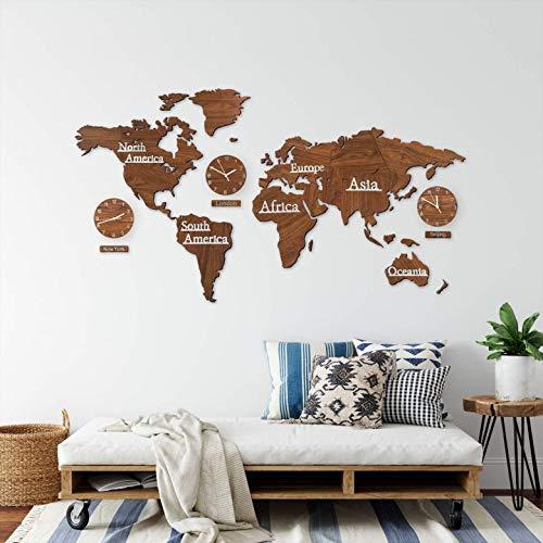 3D Holz Weltkarte mit Uhren Set - MDF Weltzeituhren Weltuhren Wanduhren Schilder Kontinente Länder Wand Deko Wall-Art (115 x 65 cm (3 Uhren), Holz braun)