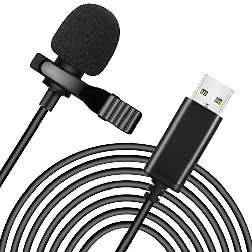 USB Lavalier Lapel Microphone for Video Recording USB A Clip-on Computer Microphones, Plug & Play Omnidirectional Condenser Lav Mic for Laptop, Computer [20 Feet]