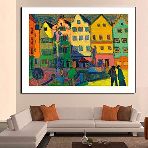 KWzEQ Moderner Plakatdruck der gelben Hauswandkunst auf Leinwand-Hauptdekorationswohnzimmerplakat,Rahmenlose Malerei,75x112cm