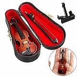 Bolange Puppenhaus Miniatur Holz Violine mit Standmusik Musikinstrument Kunst Dekoration für Kunstschüler Spielzeug Gesc