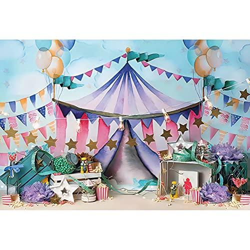 Leowefowa 1,5x1m Vinilo Telon de Fondo Tienda de Circo Fiesta de cumpleaños Bandera Estrella Globos Pastel Smash Fondos para Fotografia Fiesta Infantil Bebé Adulto Photo Studio Props Photo Booth