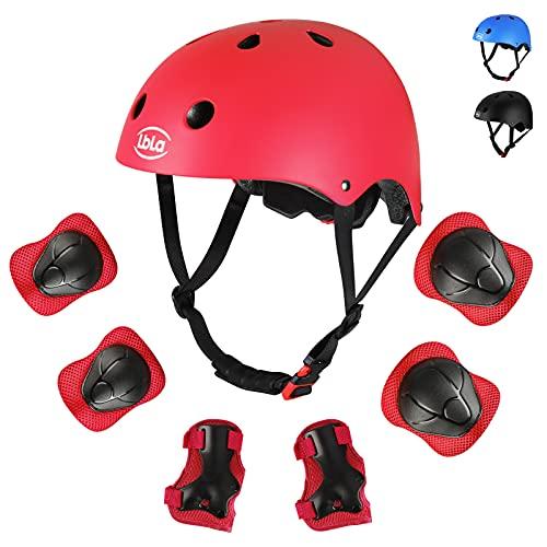 LBLA Casco Protettivo per Bambini con Gomitiere e Protezione Polso, 7 in 1 Set per Pattini a Rotella Skateboard Bicicletta Hoverboard e Altri Sport Estremi