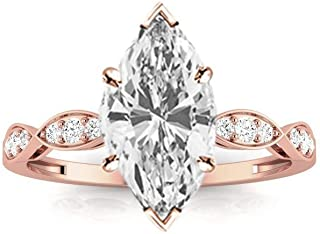1.15 Ctw Marquise Cut Petite Curving 14K White Gold Diamond Engagement Ring (H-I Color SI2-I1 Clarity 1 Ct Center)