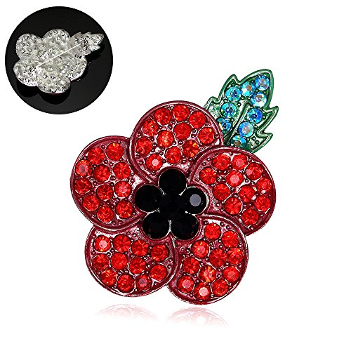 Libaro Red Poppy Flowers Brooch Pin 5 Crystal Petal Banquet Broach Symbolic Brooch Pin Remembrance Day Gift