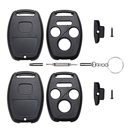 Cutting Not Required - 2 Replacement Key Fob Keyless Entry Remote Shell Case for Honda 2003-2012 Accord /2009-2015 Pilot/ 2006-2013 Civic EX/ 2005-2006 CR-V Car Key Fob Cover (3+1 Button, 2pc Black)
