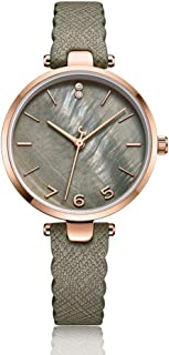 PANFU-AU Natural Shell Dial Female Watch Womens Analogue Quartz Watch with Leather Strap (Color : Green)