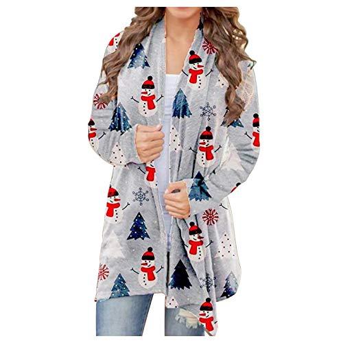 Directtyteam, cardigan da donna con stampa digitale, a maniche lunghe, con orlo flusso, cardigan da donna Snowman1 XX-Large