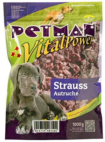 petman Vital Power Strauß, 6 x 1000g-Beutel, Tiefkühlfutter, gesunde, natürliche Ernährung für Hunde, Hundefutter, Barf, B.A.R.F.