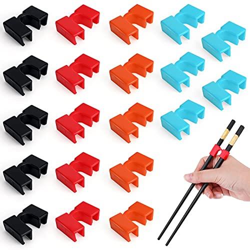 Chopstick Connectors, PAFUWEI 20 Pieces Reusable Chopstick Helpers Plastic Chopsticks Trainer for Right or Left Handed, Ergonomic Training Chopsticks for Adults, Kids, Beginner, Trainer or Learner