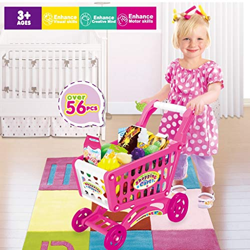 yut US Fast Shipment Kids Grocery Store Playset, Children's Shopping Cart Toy Groceries Pretending Toy Groceries, with Pretend Play Food Fruit and Vegetables, Best Gift for Boys Girls