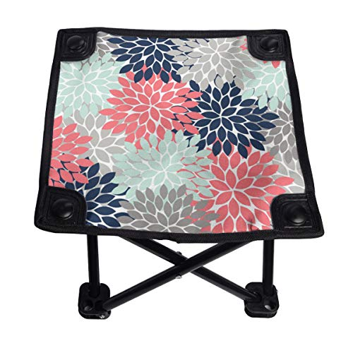 Silla plegable pequeña con diseño de flores, portátil, ligero, banco Oxford al aire libre para camping, pesca, senderismo