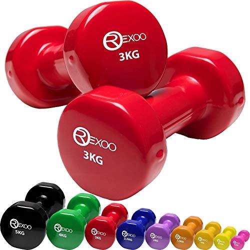REXOO Vinyl Hanteln Kurzhanteln Gymnastikhantel, Gewichte 2er Set 2X 3,0kg