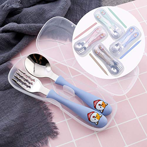 Vajilla De Acero Inoxidable para Niños Cuchara Redonda Tenedor Cuchara De Dibujos Animados Juego De Tenedor Azul Nórdico