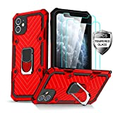 Amytor iPhone 11 Case with [2 x Tempered Glass Screen Protector] [15Ft. Drop Tested ] [ Military Grade ] Protective Phone Case with Magnetic Car Mount Ring Kickstand for iPhone 11 (Red)