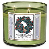 White Barn Bath and Body Works Fresh Balsam 3 Wick Candle Dark Green Glass with Wreath Design Label Winter 2019 Collection