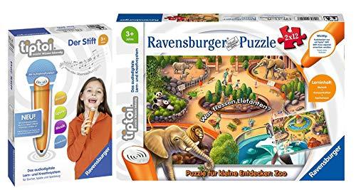 tiptoi Ravensburger 00051 Puzzle für kleine Entdecker: Zoo, 2 x 12 Teile + Ravensburger 008018 Stift - neu mit Aufnahmefunktion, ab 3 Jahren