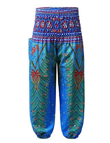 inlzdz Mädchen Pumphose Haremshose mit Tasche Blumenmuster Boho Hippie Hose Hosenrock Kinder Aladinhose Pluderhosen Freizeithosen Blau 134-140
