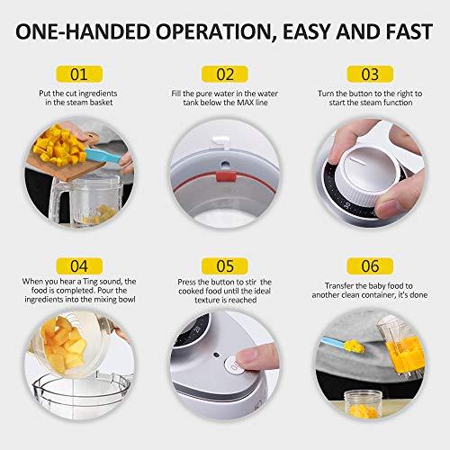 Babynahrungszubereiter KYG BFP-1800MT 5 in 1 Dampfgarer und Mixer für Babynahrung mit Dampfgaren Mixen Erwärmen Auftauen und Sterilisieren 220-240 V Baby Küchenmaschine (weiß) - 5