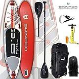 SKINFOX Whale Carbon-Set (365x82x15) 4-TECH L-CORE SUP Paddelboard rot, Board, Bag, Pumpe, Carbon-Paddle, Leash