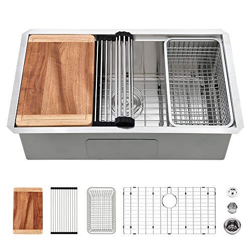 27 Inch Kitchen Sink Undermount -VASOYO 27×19 Inch Undermount Workstation Kitchen Sink 16 Gauge Single Bowl Stainless…