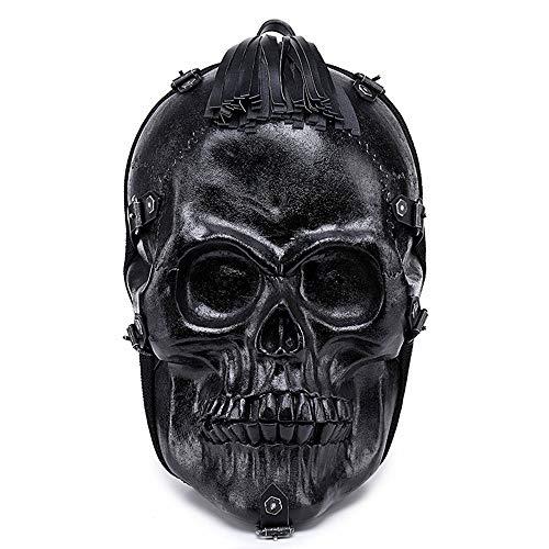 HANXIUCAO 3D Stereo Skull Backpack PU Zaino in silicone impermeabile con impronta in rilievo