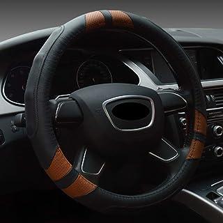 HONCENMAX 2018 Prämie Fahrzeug Lenkradabdeckung Auto Lenkradschutz Universal Durchmesser 38cm (15') Echtleder