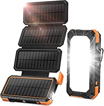 BLAVOR Solar Charger with Foldable Panels, Outdoor Power Bank 18W Fast Charging, 20,000mAh Solar Powered Charger with Camp...