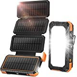 BLAVOR Solar Charger with Foldable Panels, Outdoor Power Bank 18W Fast Charging, 20,000mAh Solar Powered Charger with Camping Light/Flashlight/Compass Type C USB Charger 3 Outputs/Dual Inputs(Orange)