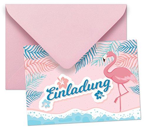 10 Einladungen mit Umschlägen mit Motiv Flamingo ohne Text / Einladungskarten Kindergeburtstag ohne Innentext passt zu Geburtstag, Poolparty, Gartenparty, Cocktailparty