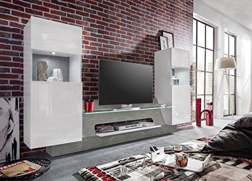 trendteam AR00235 Wohnwand TV Möbel Weiß Glanz, Absetzung Grau Beton Nachbildung, BxHxT 261x147x47 cm - 2