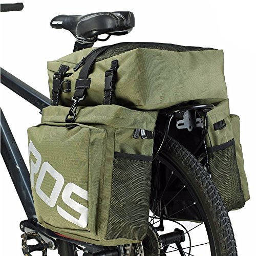 COCO Bike Panniers Waterproof Bag - 3 in 1 Multi Function Messenger Panniers for Bicycles, Bicycle Rear Seat Trunk Bag, Bicycle Saddle Bag for Mountain Cycling (Army Green)