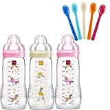 Mam botellas biberones Easy Active Baby Bottle Set Girl 3 x Baby Bottle 330 ml Con Aspiradora Talla 2