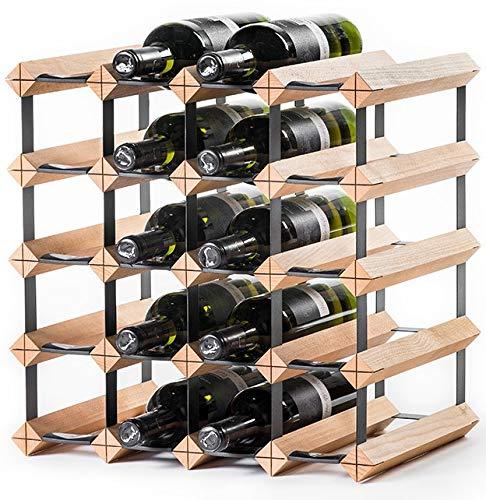 RAXI™ Classic Premium Weinregal aus Holz mit luxuriösem Design, Flaschenregal für 20x Wein Flaschen 42x42x30 cm