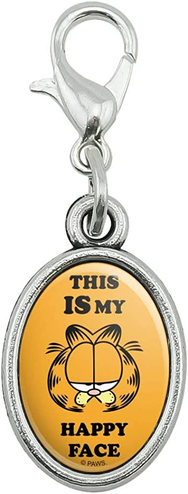 GRAPHICS & MORE Garfield This is My Happy Face Antiqued Bracelet Pendant Zipper Pull Oval Charm with Lobster Clasp