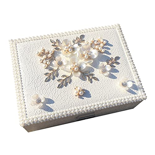FEIYIYANG Caja Joyero Caja de joyería de Estilo Pastoral Simple Creativo Pequeño Caja de Almacenamiento de joyería de Cuero Multicapa con Regalo de Bloqueo para Mujer Organizador de Joyas